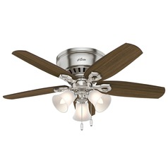 42-Inch Hunter Fan Builder Low Profile Ceiling Fan with Light - Brushed Nickel Finish