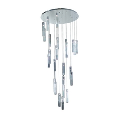 Modern Multi-Light Pendant with Clear Glass in Polished Chrome Finish