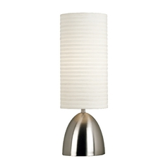 Table Lamp with White Shade in Brushed Steel Finish