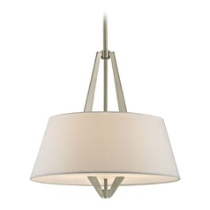 Tapered Drum Pendant Light with Satin Nickel Frame