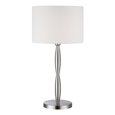 Lite Source Lighting Cira Polished Steel Table Lamp with Drum Shade
