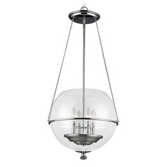 Sea Gull Lighting Havenwood Chrome Pendant Light with Globe Shade