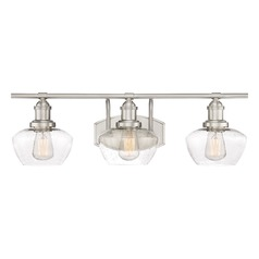 Seeded Glass Bathroom Light Brushed Nickel Stillwater by Quoizel Lighting