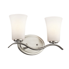 Kichler Lighting Kichler Bathroom Light with White Glass in Brushed Nickel Finish 45375NI