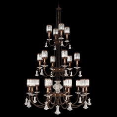 Fine Art Lamps Eaton Place Rustic Iron Crystal Chandelier