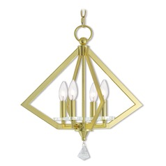Livex Lighting Diamond Polished Brass Mini-Chandelier