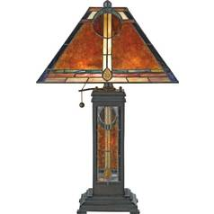 Table Lamp with Tiffany Glass in Valiant Bronze Finish