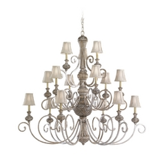 Sea Gull Lighting 15-Light Chandelier with Silver Shade in Palladium