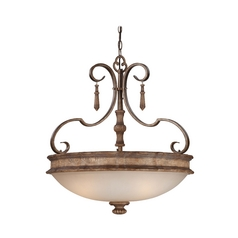 Pendant Light with Beige / Cream Glass in Classic Oak Patina Finish
