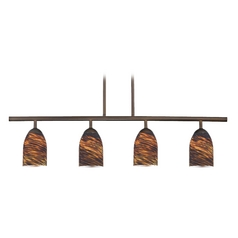 Design Classics Lighting Modern Island Light with Brown Glass in Neuvelle Bronze Finish 718-220 GL1023D