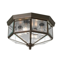 Progress Bronze Outdoor Ceiling Light with Clear Glass