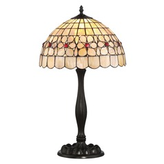 Quoizel Lighting Sea Shell Collection Floret Vintage Bronze Table Lamp with Bowl / Dome Shade