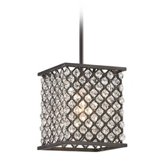 Elk Lighting Genevieve Oil Rubbed Bronze Mini-Pendant Light with Square Shade