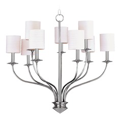Modern Chandelier with White Shades in Polished Nickel Finish