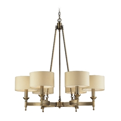 Chandelier with Beige / Cream Shades in Antique Brass Finish