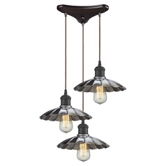 Elk Lighting Corrine Oil Rubbed Bronze/chrome Multi-Light Pendant with Scalloped Shade