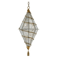 Currey and Company Basilica Silver / Gold Leaf Pendant Light with Triangle Shade