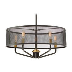 Mid-Century Modern Pendant Light Bronze Cityscape by Quoizel Lighting