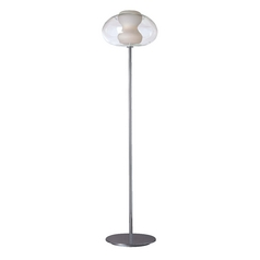 Modern Torchiere Lamp with White Glass in Chrome Finish