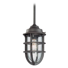 Troy Lighting Outdoor Hanging Light with Clear Glass in Nautical Rust Finish F1862NR
