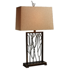 Modern Table Lamp with Brown Shade in Aria Bronze and Iron Finish