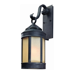 Outdoor Wall Light with Beige / Cream Glass in Aged Iron Finish