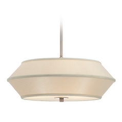 18-Inch Wide Three-Light Pendant with Beige Shade