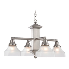 Design Classics Lighting Craftsman Nickel Chandelier with Four Lights  375-09 / G9415