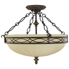 Semi-Flushmount Light with Beige / Cream Glass in Walnut Finish
