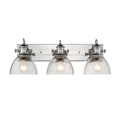 Hines 3 Light Bath Vanity in Chrome with Seeded Glass