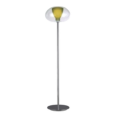 Modern Torchiere Lamp with Green Glass in Chrome Finish