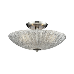 Modern Semi-Flushmount Light with White Glass in Satin Nickel Finish