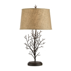 Table Lamp with Brown Grasscloth Shade in Rustic Bronze Finish
