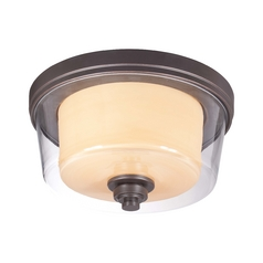 Modern Flushmount Light with Beige / Cream Glass in Sudbury Bronze Finish