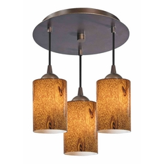3-Light Semi-Flush Light with Brown Art Glass - Bronze Finish