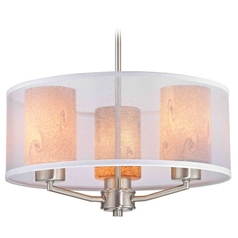 Organza Drum Pendant Light Satin Nickel with Art Glass 3-Light
