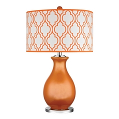 Table Lamp in Tangerine Orange with Polished Nickel Finish