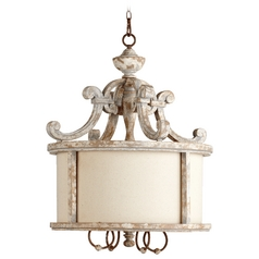 Quorum Lighting La Maison Manchester Grey W/ Rust Accents Pendant Light with Drum Shade