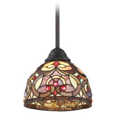 Quoizel Lighting Tiffany Vintage Bronze Mini-Pendant Light with Bowl / Dome Shade