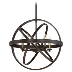 Mid-Century Modern Pendant Light Bronze Eons by Quoizel Lighting