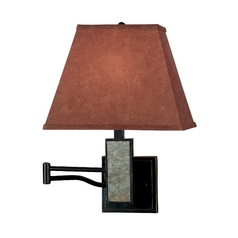 Modern Swing Arm Lamp with Brown Tones Paper Shade in Oil Rubbed Bronze Finish