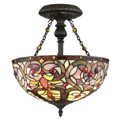 Quoizel Lighting Tiffany Vintage Bronze Semi-Flushmount Light