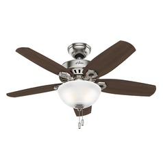 42-Inch Hunter Fan Builder Small Room Ceiling Fan with Light - Brushed Nickel Finish