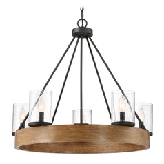 Seeded Glass Chandelier Grey Ash Quoizel Lighting