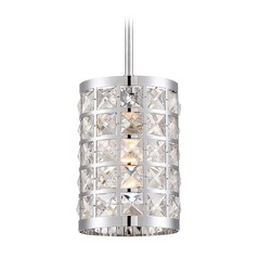 Lite Source Damond Chrome Pendant Light with Cylindrical Shade