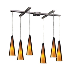 Modern Multi-Light Pendant Light with Brown Glass and 6-Lights