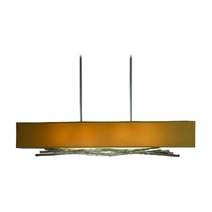 Island Light with Brown Shades in Burnished Steel Finish
