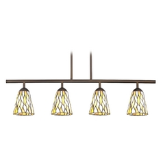 Tiffany Glass Linear Pendant Light with 4-Lights in Bronze Finish
