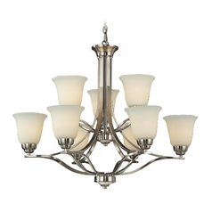 LED Chandelier with White Glass in Brushed Nickel Finish