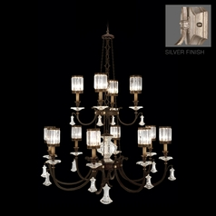 Fine Art Lamps Eaton Place Silver Leaf Crystal Chandelier